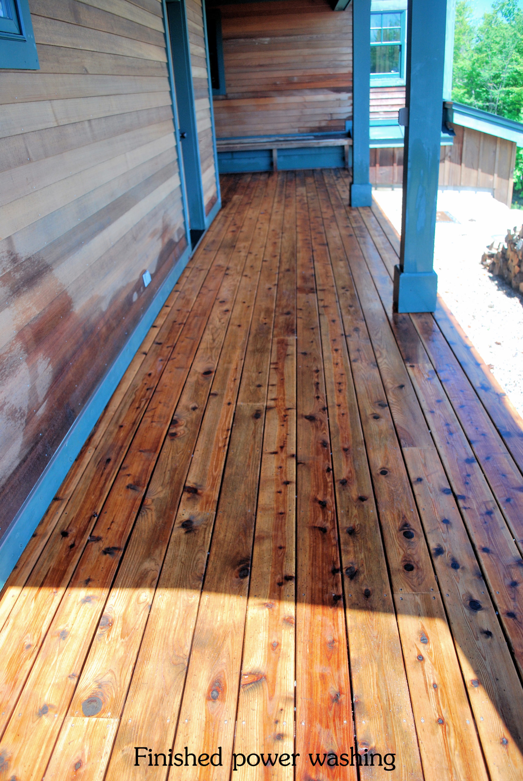 Freshly power washed wooden deck